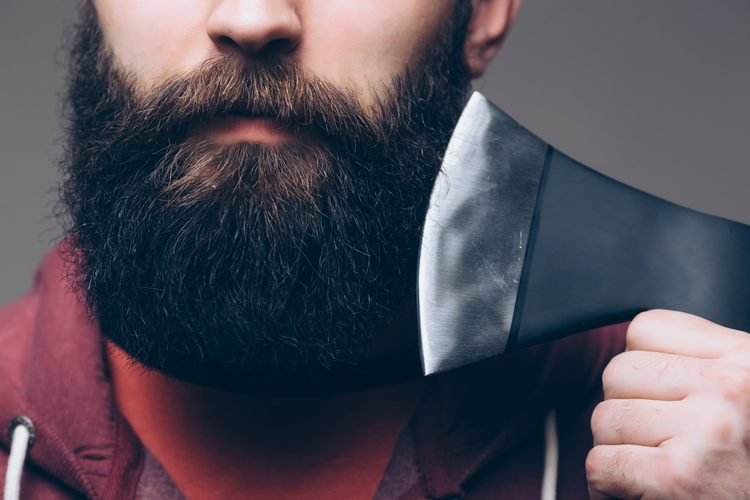 shave beard with axe
